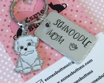 Schnoodle gift, Schnoodle Key Ring, handstamped  keyring, dog gift,  dog lover gift, gift for him, gift for her,