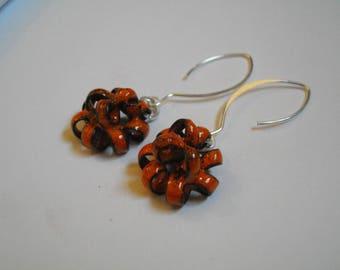 Nautilus - Earrings copper enamel and Silver 925/1000