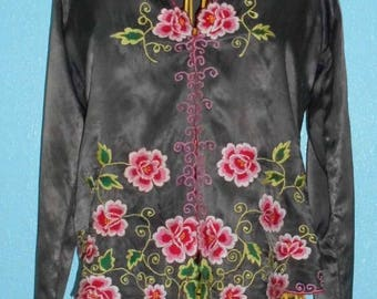 1970s/80s? Vintage Ladies Dark Brown Satin Embroidered Asian Cardi/Overblouse — size XS/Small