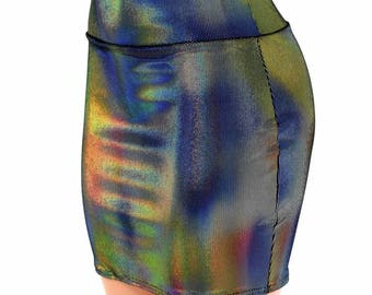 """Velvet Oil Spill Holographic Stretchy Bodycon Skirt Clubwear Mini Skirt 16"""" Length 154602"""