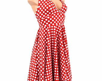 Handkerchief Hemline Halter Dress in Red & White Polka Dot Print Minnie Retro Pinup - 154710