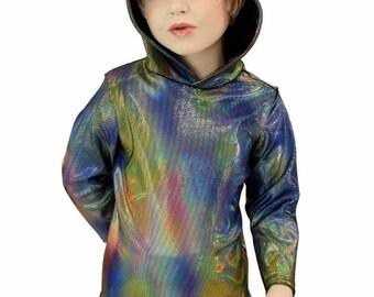 Childrens Velvet Oil Spill Long Sleeve Hoodie with Zen Hood Liner  Kids Sizes 2T 3T 4T and 5-12   154936