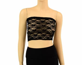 Black Lace Sheer See Through Lycra Spandex Strapless Tube Top Clubwear - 154968