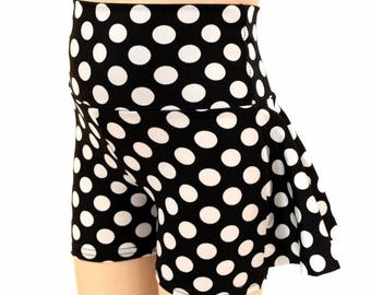 Kids Ruffle Rump Dance Shorts in Black & White Polka Dot Minnie Retro Spandex  2T 3T 4T and 5-12 - 155034
