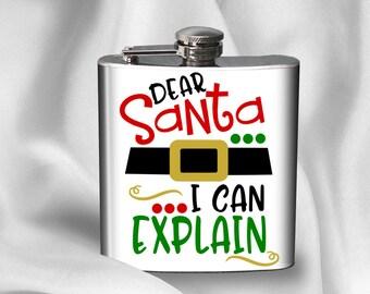 Hip Flask - Dear Santa I can explain -  Christmas Hip Flask - Alcohol - Liquor - Stainless Steel - 6 oz.-  - Cyber Monday