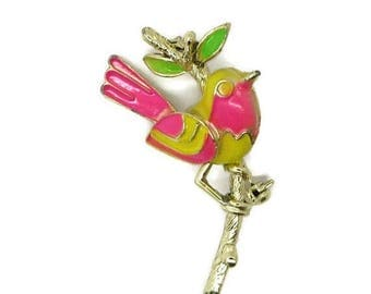 ON SALE! Bright Enamel Bird Brooch, Vintage Yellow, Green, Pink Figural Gold Tone Pin