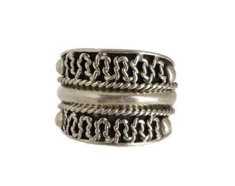 Mexico Cigar Band Ring, Vintage Sterling Silver Scrolled, Braided Wide Band Ring, Size 8