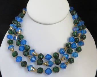 West Germany Necklace | Vintage Blue Beaded Necklace | Triple Strand Necklace | Blue, Green Beaded Choker