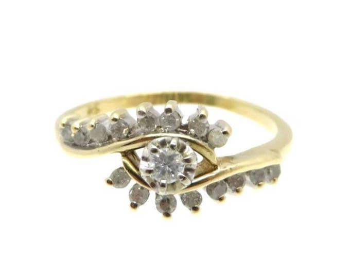 10K Gold Diamond Ring, Vintage Cluster Cocktail Dinner Ring, Anniversary Gift, Size 7