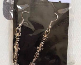 Sonic screwdriver steampunk electronjc silver colour earrings shark earrings steampunk earrings steampunk jewellery
