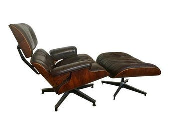 Rosewood Charles Eames Lounge Chair and Ottoman for Herman Miller 670 & 671 mid century modern