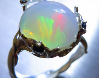 3.10cts Natural Aurora multi-colour Welo Opal 925 Silver 9ct 14k 18k Yellow Red White Gold Platinum Palladium engagement ring all sizes