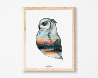Print with owl and nature, illustration by Joannie Houle