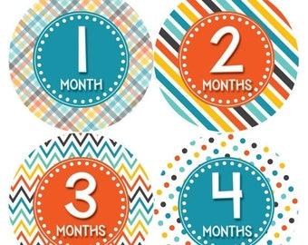 Monthly Baby Milestone Stickers Baby Boy Baby Shower Gift One-Piece Baby Stickers Monthly Baby Stickers Baby Month Sticker 413