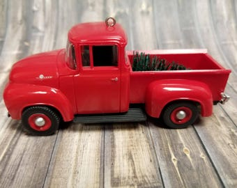 Vintage Red Truck with Christmas Tree Ornament 1956 Ford