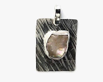 Abalone Shell Pendant set in Sterling Silver, Mother of Pearl Necklace, Shell Jewelry, Beach Inspired