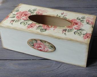 Wooden Tissue Box Cover. Tissue holder. Napkin box. Rose. Shabby  chic style.