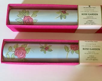 "Scented Drawer Liner ""Rose Garden"" Pastel Blue with Pastel Pink Roses Unopened from England 2 Boxes"