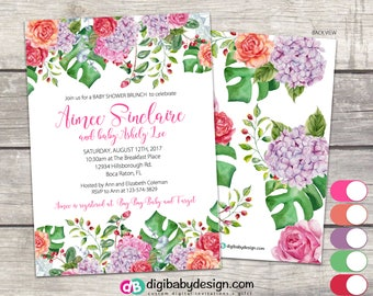Girl Baby Shower Invitation, girl baby shower invite, floral girl baby shower, printable invitation, pink tropical black