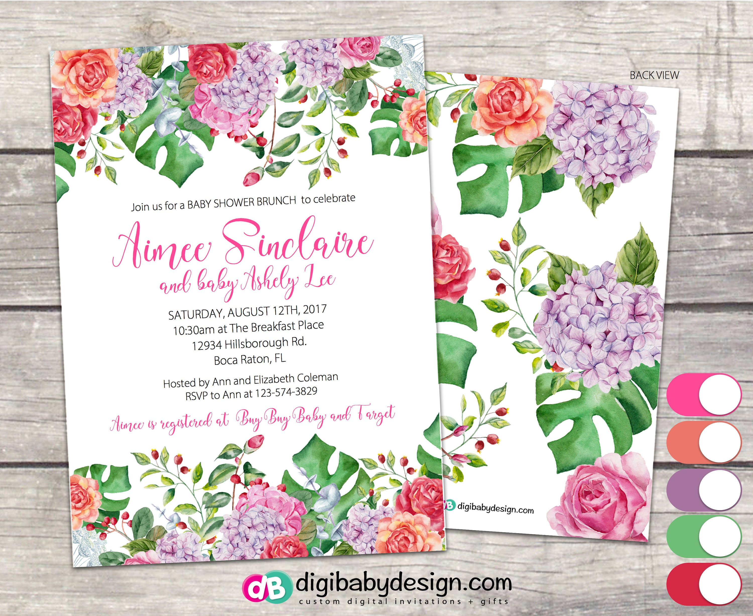 Baby shower invitation tropical baby shower invitation zoom negle Images