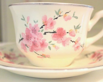 Vintage WS George Lido Canarytone China Tea Cup and Saucer Teacup Set Cherry Blossom Cream White Asian Floral Pattern Cottage Home Decor