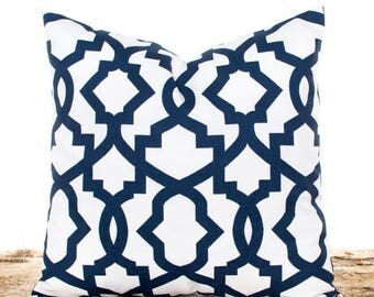SALE ENDS SOON Decorative Throw Pillow Covers, Navy Cushion Covers, Navy and White, Lattice Pillow, Navy Pillows, Lumbar Pillows, Pillow Sha