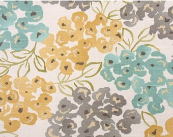 Turquoise Grey Floral Upholstery Fabric, Luxury Pool Fabric, Bamboo Yellow Gray Fabric, Teal Floral Curtain Drapery Fabric - by the yard