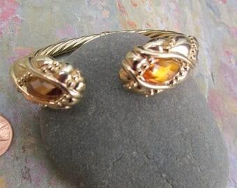 14KT Yellow Gold Checkerboad Genuine Citrine Electroform Artform Open Cuff Bangle Bracelet Estate Vintage