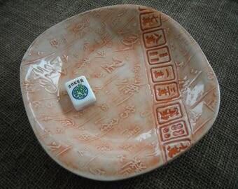 Mahjong Bowl - Peach Mahjong Pottery - Large Mahjong Bowl - Oriental Dish - Oriental Pottery - Chinese Pottery - Gift Idea - Mahjong Dish