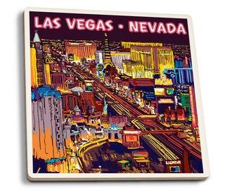 Las Vegas, NV - Strip at Night - LP Artwork (Set of 4 Ceramic Coasters)