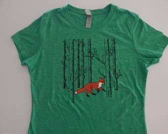 Women's Fox in the woods Tri-blend t-shirt, Size S-XXL