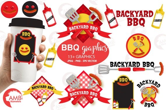BBQ Clipart Barbeque Clip Art Barbecue Party Words Elements Commercial Use AMB 911