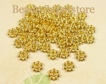 6 mm Gold-Plated Daisy Spacer - Nickel Free, Lead Free and Cadmium Free - 100 pcs (DS6G)