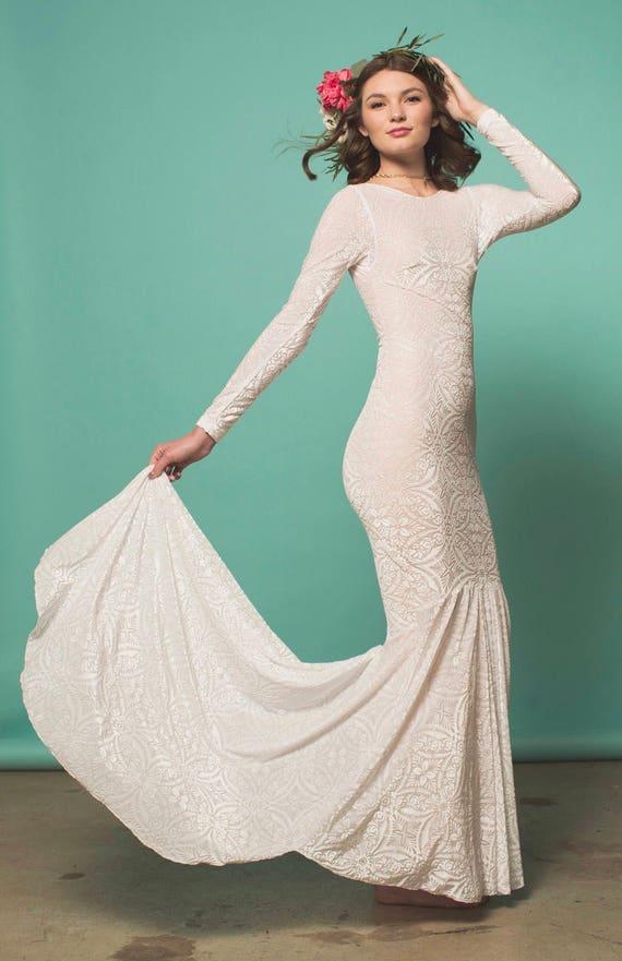 Boho Wedding Dress Long Sleeved