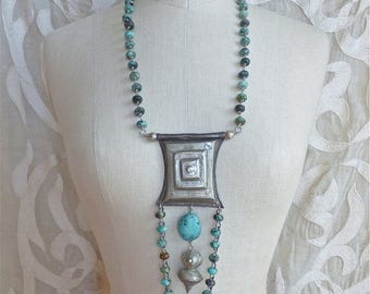 SUMMER SALE Turquoise Tcherot Necklace