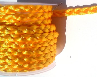 2 metres of cord in bright yellow braided silk