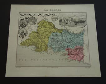 1874 antique map of Bouches-du-Rhône departement France - beautiful old hand colored print - Marseille Arles Aix-en-Provence Martigues 9x11""