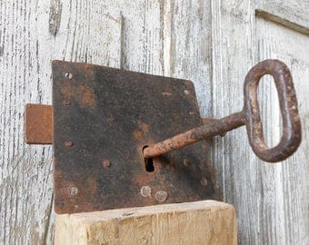 antique hand forged door lock and key, iron key with lock, salvaged door furniture