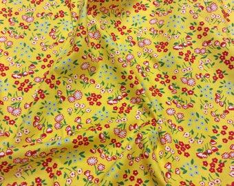 Lecien Old New 30's 2017 Japanese Fruit & Flowers Pattern 31523 50 Yellow Flower Garden