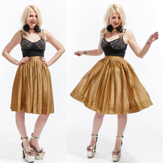 Vtg 60s BRONZE Gold METALLIC Sparkly SKIRT Accordion Pleated Swing High Waisted Glam Rock Kitschy Disco Retro Pin Up Rockabilly Grunge shiny
