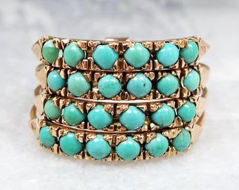Antique Victorian 14ct Gold Harem Multi-Band Stacking Turquoise Ring / Size R S