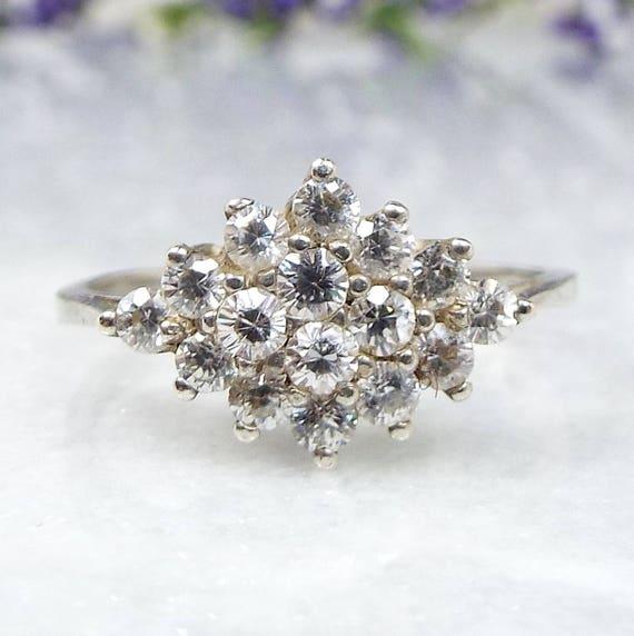 Vintage / Sterling Silver Tiara Crystal Cluster Cocktail Evening Ring / Size M 1/2