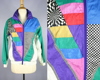 Vintage 80s Bomber Jacket 1980s Coat COLORFUL Windbreaker Hip Hop Swag Hipster Retro RAINBOW Print Black White PSYCHEDELIC New Wave Grunge