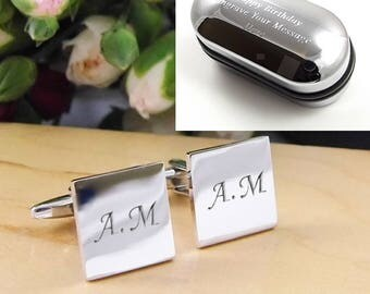 Silver Personalised Engraved Initial SQUARE Cufflinks - Wedding and Birthday Gift - Personalised Engraved Gift Box Available