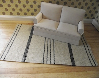 Miniature doll house 12th scale  woven rug 1:12  beige  and black stripe design 20cm long