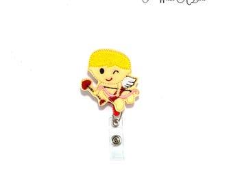 Valentine Badge Reel, Valentine Badge, Cupid Badge Holder, Felt Badge Holder, Felt Badge Clip, Felt Badge Reel, Retractable Badge