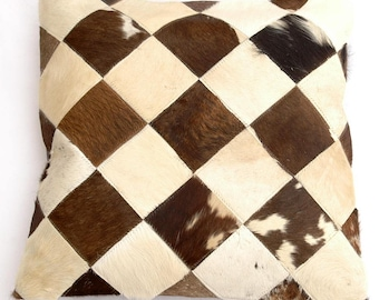 Natural Cowhide Luxurious Patchwork Hairon Cushion/pillow Cover (15''x 15'')a149