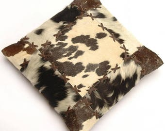 Natural Cowhide Luxurious Patchwork Hairon Cushion/pillow Cover (15''x 15'')a185