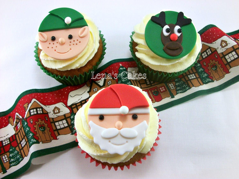 Christmas Cupcake Edible Fondant Topper Santa Elf Reindeer