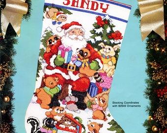 "Bucilla Santa's Woodland Friends 19"" Christmas Stocking Cross Stitch Kit #82919"